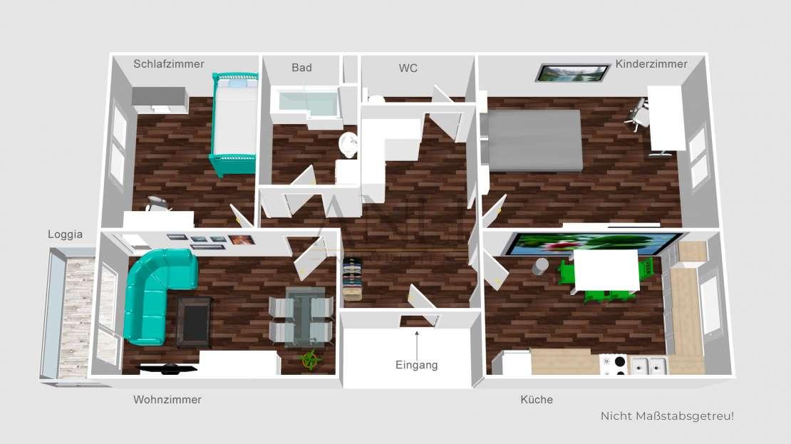 3 Zimmer Wohnung mit Loggia in Senden - Grundriss
