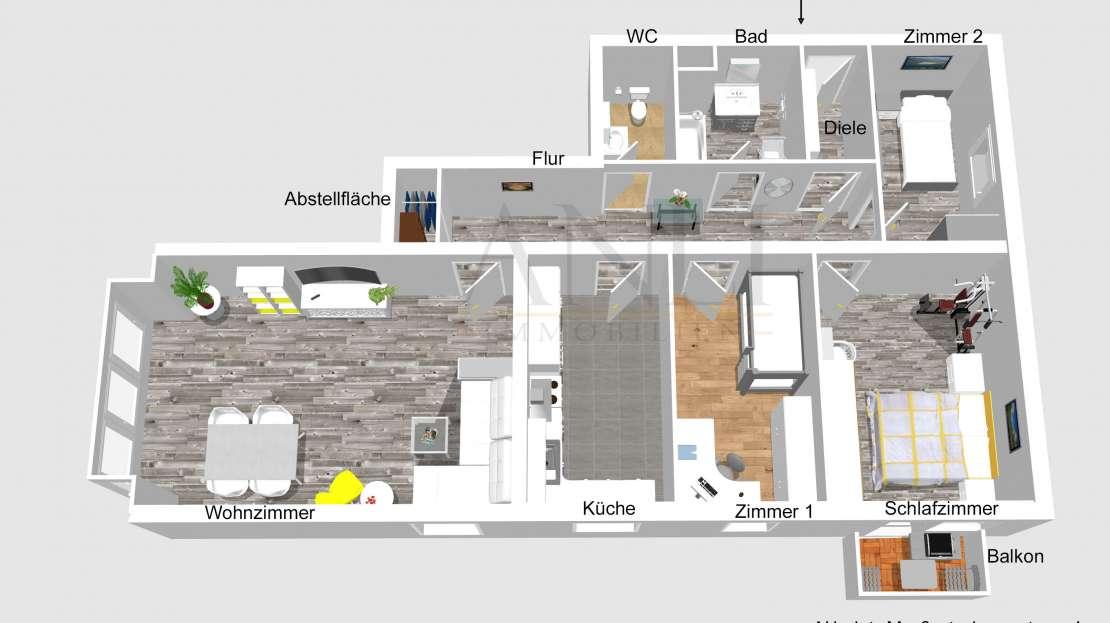 Grundriss 2D 4 Zimmer Wohnung in Senden